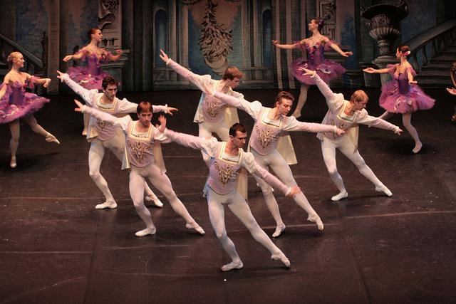 Une troupe de danseurs classiques évoluent sur une scène.