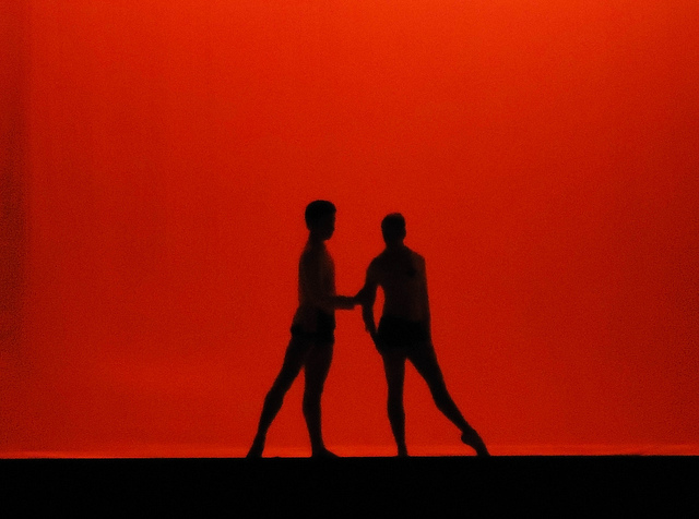 Photographie d'un ballet ou l'on distingue deux ombres sur fond rouge.