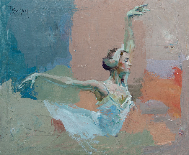 Tableau de peinture d'une danseuse en tenue blanche sur fond bleu, blanc, rouge.