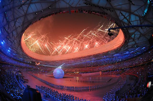 Photographie de la cérémonie d'ouverture des jeux olympiques de 2008 à Beijing.