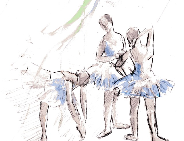 Dessin de femmes en tenue de danse classique.