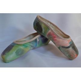 """chaussons de danse pointes décorés main SÈV """"ILLUSION"""" sur Merlet Mira"""