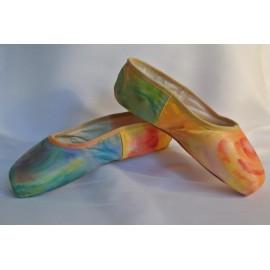 """chaussons de danse pointes décorés main SÈV """"SOLEIL LEVANT"""" sur Merlet Mira"""