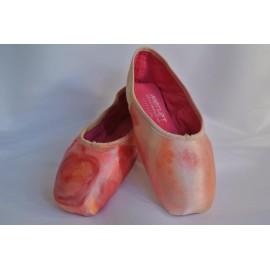 """chaussons de danse pointes décorés main SÈV """"ROSE & ARC EN CIEL"""" sur Merlet N°2"""