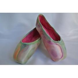 """chaussons de danse pointes décorés main SÈV """"TENDRESSE"""" sur Merlet N°2"""
