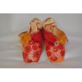 """chaussons de danse pointes décorés main SÈV """"POPPIES"""" sur Russian Pointe Brava"""