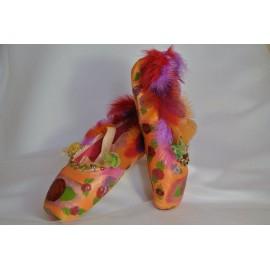 """chaussons de danse pointes décorés main SÈV """"GAIA"""" sur Merlet N°2"""
