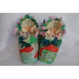 """chaussons de danse pointes décorés main SÈV """"LES NENUPHARS"""" sur Capezio Glissé"""