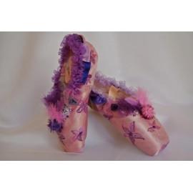 """chaussons de danse pointes décorés main SÈV """"COLOMBINE"""" sur Merlet Adagio"""