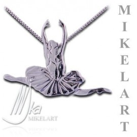 pendentif danseuse MIKELART GRAND JETE INCRUSTE BLANC