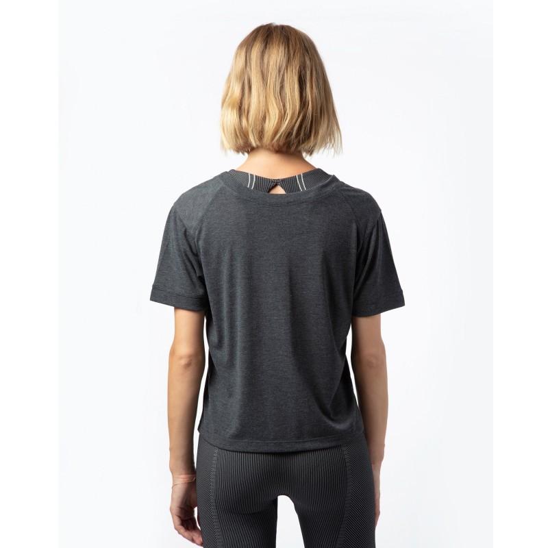 t-shirt court près du corps REPETTO gris chiné foncé