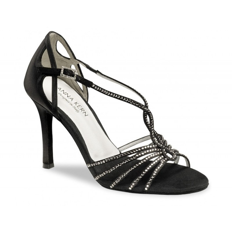 chaussure danse sportive femme WERNER KERN satin noir et strass 942-90