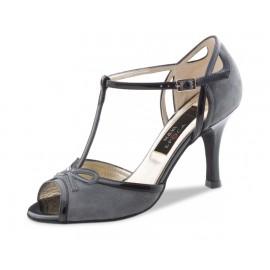 Chaussures de danse de salon WERNER KERN ALEXIA FEMME daim gris et cuir vernis noir