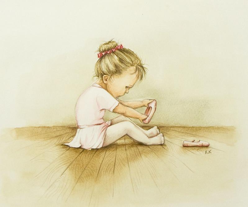 Dessin de petite fille en tenue de ballerine à sa première leçon de danse.
