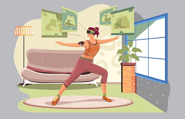 Danseuse avec casque de réalité virtuelle.
